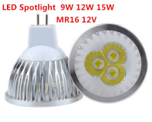1pcs Super Bright 9W 12W 15W MR16  LED Bulb Light 12V Dimmable Led Spotlights Warm White/White/Cool White  LED lamp