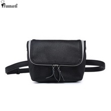 FUNMARDI Classic Trendy Leather Waist Bags New Fashion Women Shoulder Bags Vintage Mini Bags Simple Casual Belt Bags WLAM0167(China)