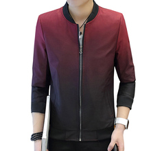 New Spring Autumn Gradient Jacket Men's Clothing Thin Slim Zipper Stand Neck Jacket Casual Clothes Baseball Uniform(China)
