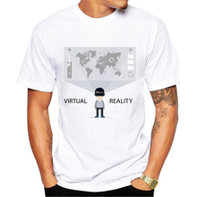 Virtual Reality World T-Shirt Men Inspired VR Print Tee Shirt Summer Cool Cotton Tees Custom Design Digital Printing T Shirts