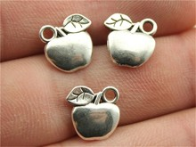 WYSIWYG 15pcs 10*10mm 2 Colors Antique Silver, Antique Bronze Apple Charms(China)