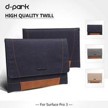 Free Shipping D-park Nylon Twill&Leather Case Sleeve/Pouch For Microsoft Surface Pro 4/3 for Samsung Google Chromebook 11.6(China)