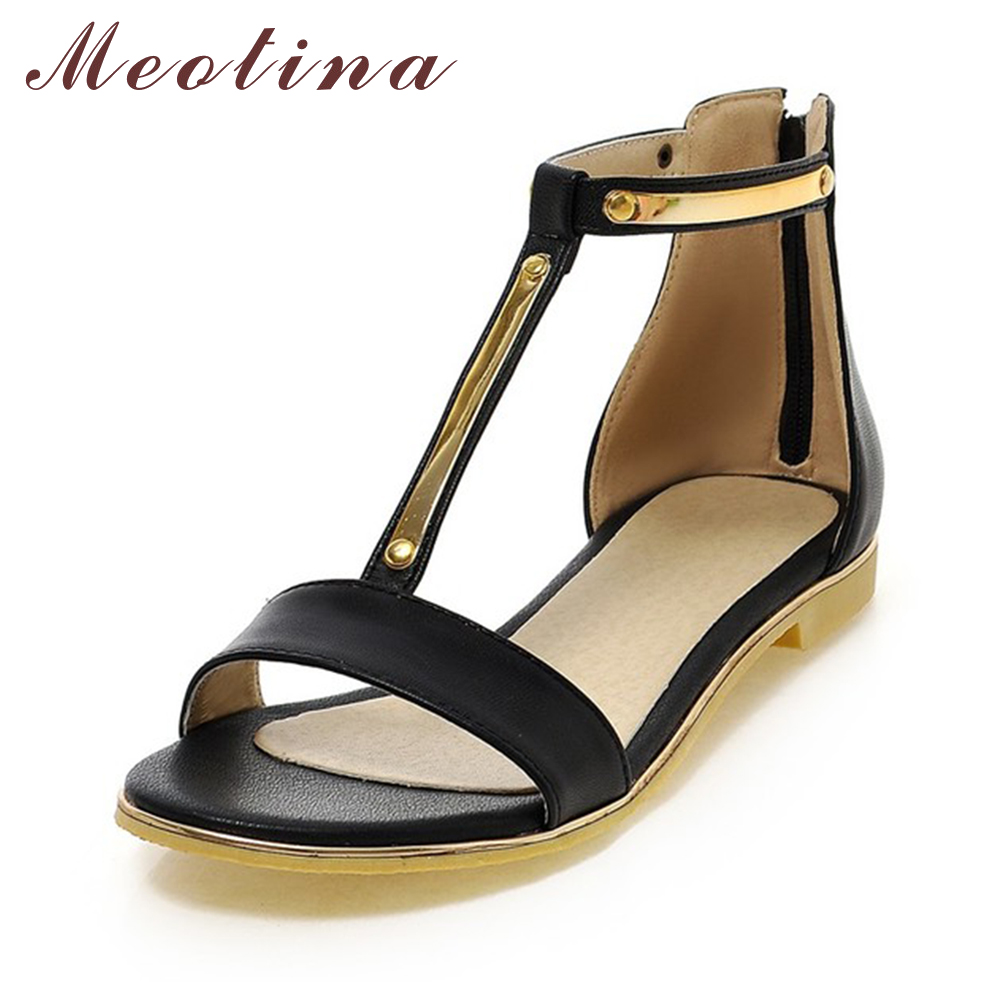 Meotina Shoes Women Sandals Summer Open Toe T-Strap Flats Female Zip Sequined Black Blue Pink Beige Shoes Large Size 41 42 <br><br>Aliexpress
