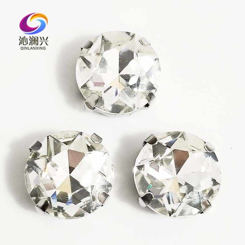Detail Feedback Questions about White round shape High quality Glass  Crystal sew on claw rhinestones 99840136ce0d