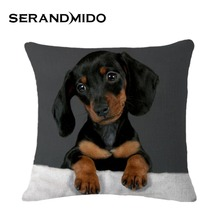 8 Designs Vintage Fashion Cushion Cover Decorative Pillow Cases Capa Almofade Black Dog Pattern for Sofa Home Decor SMC956T()