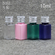 10ml Plastic Cosmetic Water Square Bottle Makeup Essential Oil Perfume Refillable Container Transparent Blue Pink Green(China)
