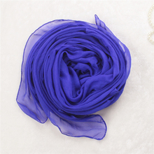Royal Blue New Plain Women Faux Silk Shawl Solid Color Viscose Long Muslim Hijab Spring Chiffon Voile Wrap Scarves Pashmina(China)