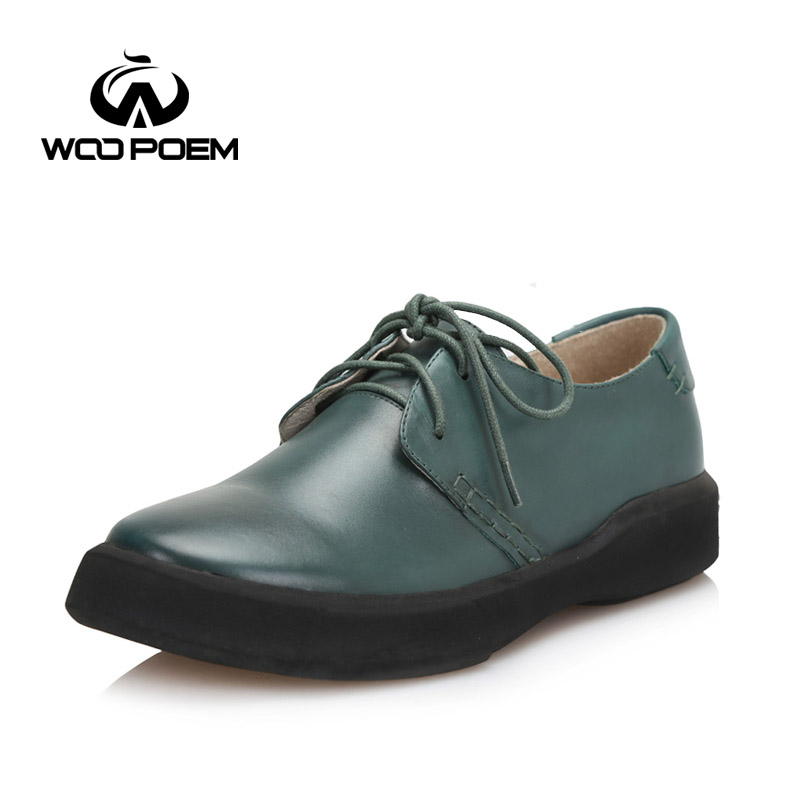 WooPoem Spring Autumn Shoes Women Breathable Cow Leather Boat Shoes Comfortable Low Heel Flats Platforms Lady Shoes 208-6<br><br>Aliexpress