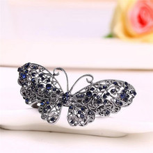 Vintage Women Girls Blue Rhinestone Flower Metal Hair Pin Crystal Butterfly Barrette Hair Clip Jewelry Gifts