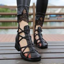 high quality 2016 women's summer shoes genuine leather cool boots high female sandals 16116 - 1(China)