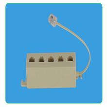 AT Hot RJ11 6P4C 1 Jack to 5 Female RJ11 Telephone Phone Cable Line Y Splitter Extension Cable Adapter Connector