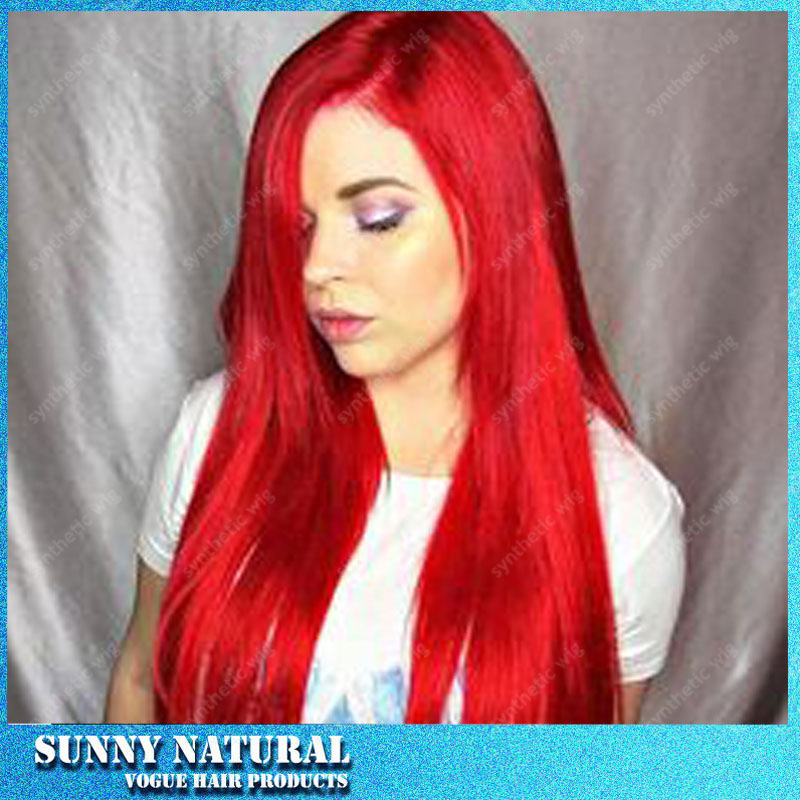 Rihanna hairstyles long red wig silky straight red wig long synthetic lace front wigs with baby hair for black women<br><br>Aliexpress