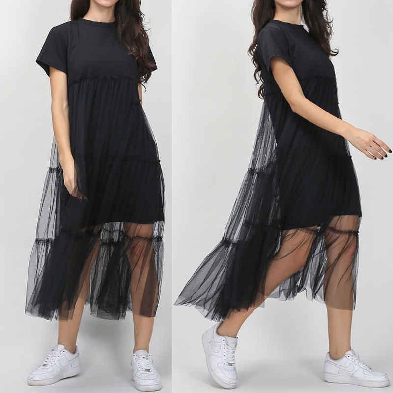 Summer Korean Style Plus Size Splicing Pleated Mesh shirt Dress Women Black  Gray Color Clothing New 1d5d0ebaf989