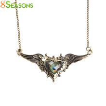 8SEASONS Peacock Feather Wing Necklace Antique Bronze Women Fashion Glass Heart Pendant Green & Blue Link Chain, 1 PC(China)