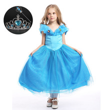 High Quality 6 Layers Cotton Lining Kids Costumes Beautiful Girl Cinderella Blue Princess Dress for Party with Butterfly