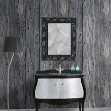 9.5M 3D Wood Timber Theme Wallpaper Roll Rustic Dark Grey Wood Panel Pattern -NF