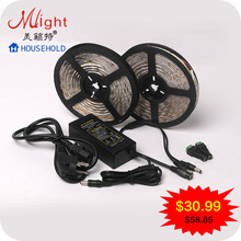 10 meters 12V SMD5050 LED Strip & 60W 12V 5A Power Supply Adapter IP20 Not Waterproof  IP44 Waterproof LED Strip Light Kit