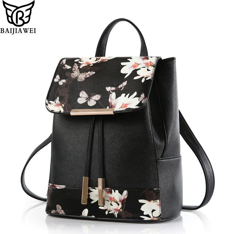 BAIJIAWEI 2017 New Backpack Women PU Leather Backpack Flowers Feather Printing Bags mochila feminina  Female Casual Travel Bags<br><br>Aliexpress