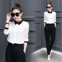 Buy leisure korean fashion long-sleeved chiffon blouse pants 2 piece clothing set new autumn outfit women top clothes slim S-XL for $39.88 in AliExpress store