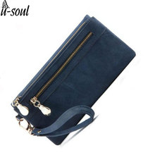 Fashion Women Wallets Dull Polish PU Leather Wallet Double Zipper Day Clutch Female Leather Wallet Laies Purse SC0025