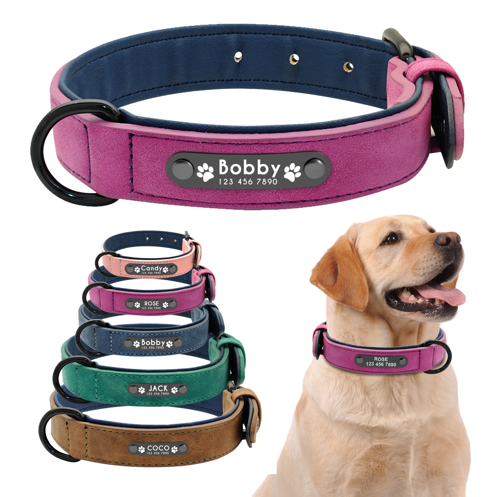 Leather Dog Leash Lead Puppy Small Medium Large Black Brown Pink Gray