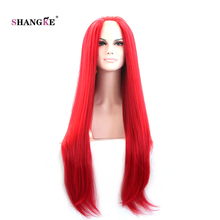 SHANGKE Hair 26'' Long Straight Lace Front Wig Separated In The Middle Bright Red Synthetic Wigs For Black Women Heat Resistant(China)