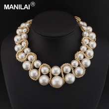 MANILAI Women Fashion Accessories Big Size Simulated Pearl Wrapped Around Chunky Gold Color Chain Statement Necklaces #1200(China)