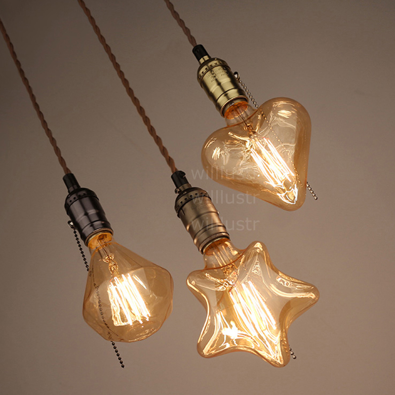 vintage Edison filament bulb pendant light retrofit Edison lamp industrial star diamond heart classical suspension lighting<br>