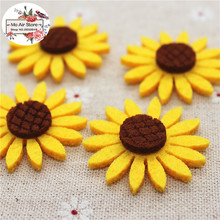 3.8CM Non-woven patches sunflower Felt Appliques for clothes Sewing Supplies DIY craft ornament