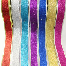 5CM Width Glitter Ribbon Priting Snowflake Christmas Ornaments Decoration Christmas Present Weeding Wire Edged ,DIY Accessories