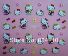 With the paper card detail package  nail multiple shop promotion free shipping PVC 3D hello kitty nail art sticker