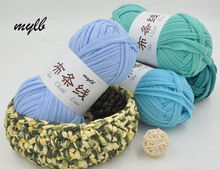 mylb 2ball Fancy Yarn for Knitting Thick Thread Crochet Candy-colored Cloth Yarns Ribbon Hand Knit Wool Hat Yarn Craft(China)