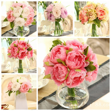 Decorative flowers Hot Sale 10 Heads Artificial Silk Flower Peony Flowers Wedding Bouquet Bridal Party Decor Special Price