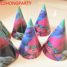 12pcs Trolls theme Birthday Caps with strings Kids party hats Cheering Cartoon party supply decoration LUHONGPARTY