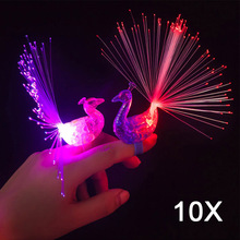 10pcs Peacock Finger Night Lights Color Led Lamp Kids Optical Fiber Finger Light Educational Plastic Finger Toy  HG99