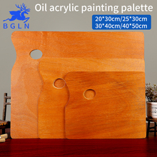 BGLN 1Piece Wooden Walnut Color Square Oil Painting Palette Professional Oil Acrylic Paint Drawing Palette Paleta Art Supplies(China)