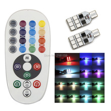 1set/2pcs Car Atmosphere Lights multiple colour T10 12smd RGB remote control Interior strobe lights decoration bulbs Car Styling