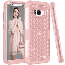 For Samsung Galaxy S8 S8+ Glitter Case for Girls Women Lady Fashion Dual Layer Diamond Rhinestones case cover for s8 s8 plus(China)