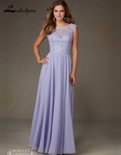 Elegant Scoop Cap Sleeve Lavender Bridesmaid Dresses Cheap Chiffon Lace Long Maid of Honor Dress for Weddings vestido madrinha
