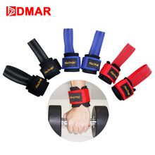 DMAR 2pcs Weightlifting Belt Hook Grips Gloves Wrist Support Barbell Dumbbell Gym Strength Traning Fitness Crossfit Equipment(China)
