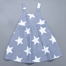 Retail New Summer Baby Girl Dress Fashion Star Pattern Striped Princess Dress Lovely Toddler Girl Birthday Dress Brand Clothing