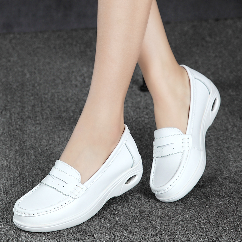 High Quality White Platform Nurse Shoes Women Moccasins Elevator Womens Casual Shoes Wedge Footwear Thick Sole<br>