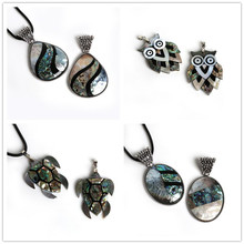 Random Size Natural Abalone Shell Turtle Tortoise/Owl/Water Drop Shape Animal Charms Pendant for Women Jewelry Findings Making