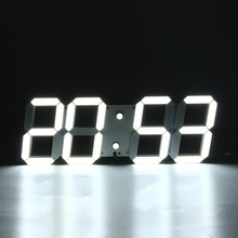 1PcModern digital wall clock Remote Control 3D Wall Clock Led Alarm Clock Decorative Watch Home Decor A(China)