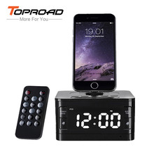 TOPROAD Portable Bluetooth Speaker LCD Digital FM Radio Alarm Clock Stereo Music Box 8 Pin Charger Dock Station Wireless altavoz