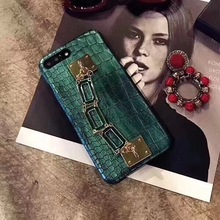 Exquisite bracelet Case For iPhone 6 case 6 7 7 Plus Bright green Alligator Pattern Soft Leather CROCO Phone Case Housing new(China)