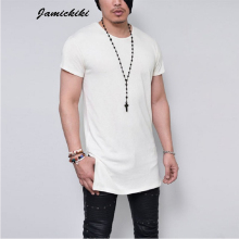 2016 Summer Men's Short Sleeve Long Style Solid Black White Gray Plain T shirt High Quality T shirts Men HipHop Tee Tops KF-2147