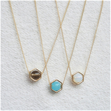 2016 New Geometric Gold Hexagon necklace for Women Simple Plain Long Chain Jewelry Necklace