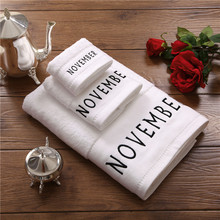 Decorative Monogram Cotton Towel Set 3 Piece Initial NOVEMBER Embroidery in Black Oversize Bath Towel Hand Towel Washcloth White