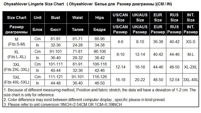 Lingerie size chart